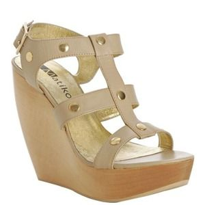 Matiko Nude Gold Caged Ashley 2 Wedges Size 8.5